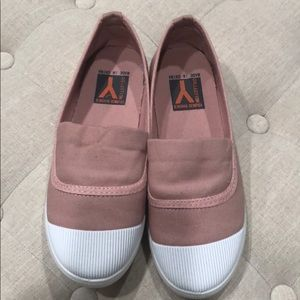 Shoes - Pink canvas sneakers with white rubber tips